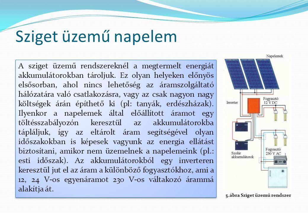 Sziget üzemű napelem A sziget üzemű rendszereknél a megtermelt energiát akkumulátorokban tároljuk. Ez olyan helyeken előnyös elsősorban, ahol nincs le