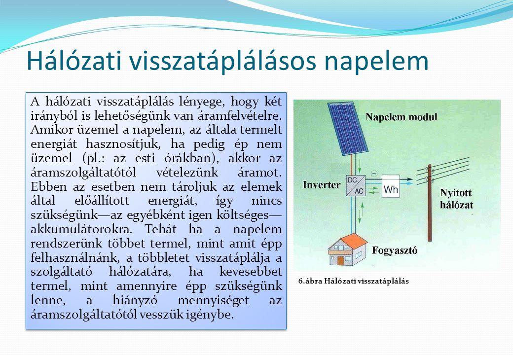 Hálózati visszatáplálásos napelem A hálózati visszatáplálás lényege, hogy két irányból is lehetőségünk van áramfelvételre. Amikor üzemel a napelem, az