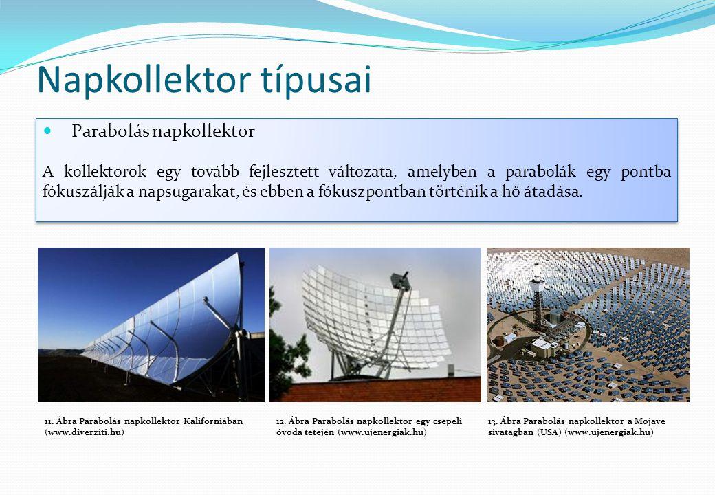 Napkollektor típusai  Parabolás napkollektor A kollektorok egy tovább fejlesztett változata, amelyben a parabolák egy pontba fókuszálják a napsugarak