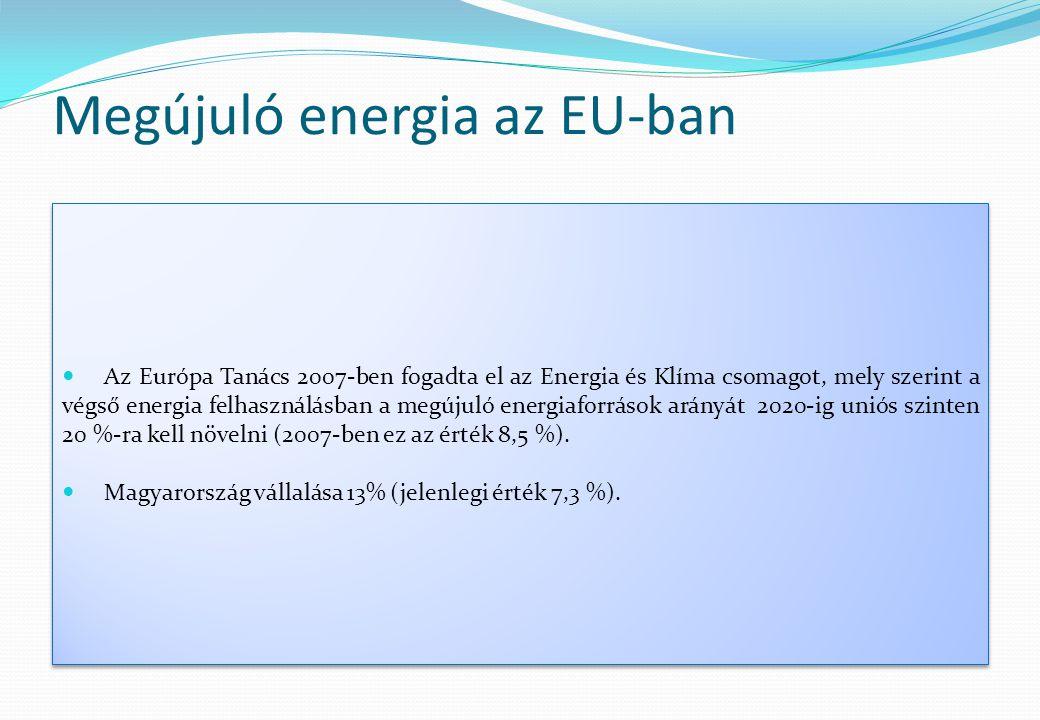 Megújuló energia az EU-ban  Az Európa Tanács 2007-ben fogadta el az Energia és Klíma csomagot, mely szerint a végső energia felhasználásban a megújul