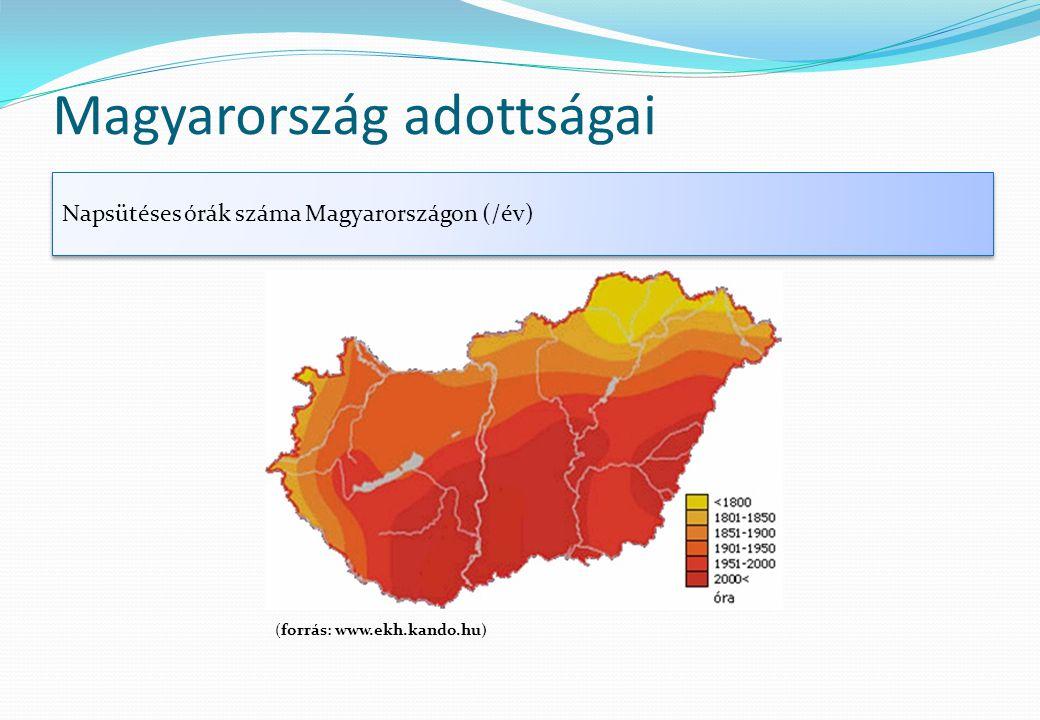 Magyarország adottságai Napsütéses órák száma Magyarországon (/év) (forrás: www.ekh.kando.hu)