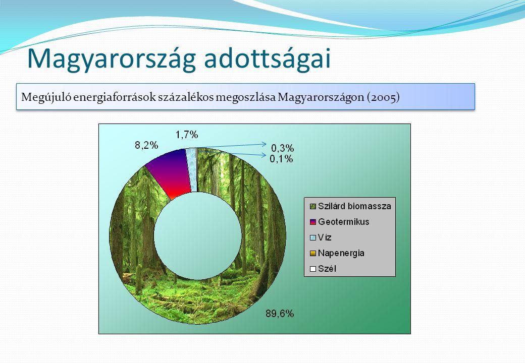 Magyarország adottságai Megújuló energiaforrások százalékos megoszlása Magyarországon (2005)
