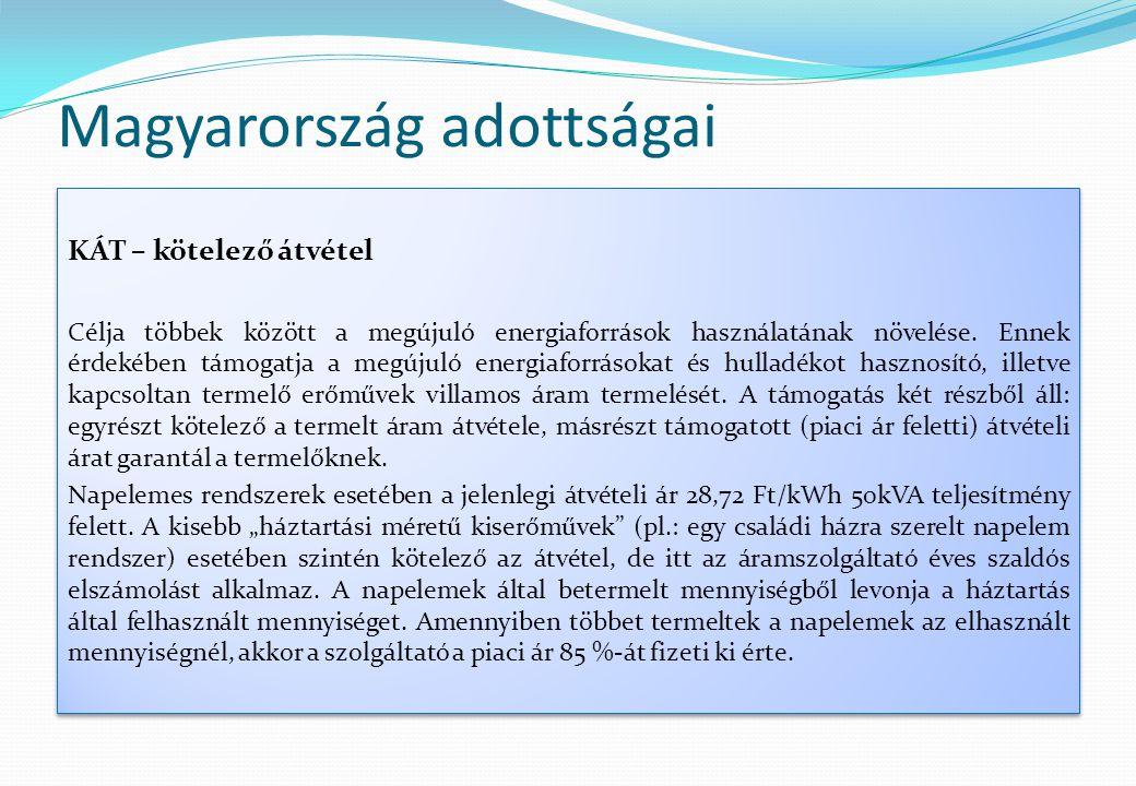 Magyarország adottságai KÁT – kötelező átvétel Célja többek között a megújuló energiaforrások használatának növelése. Ennek érdekében támogatja a megú