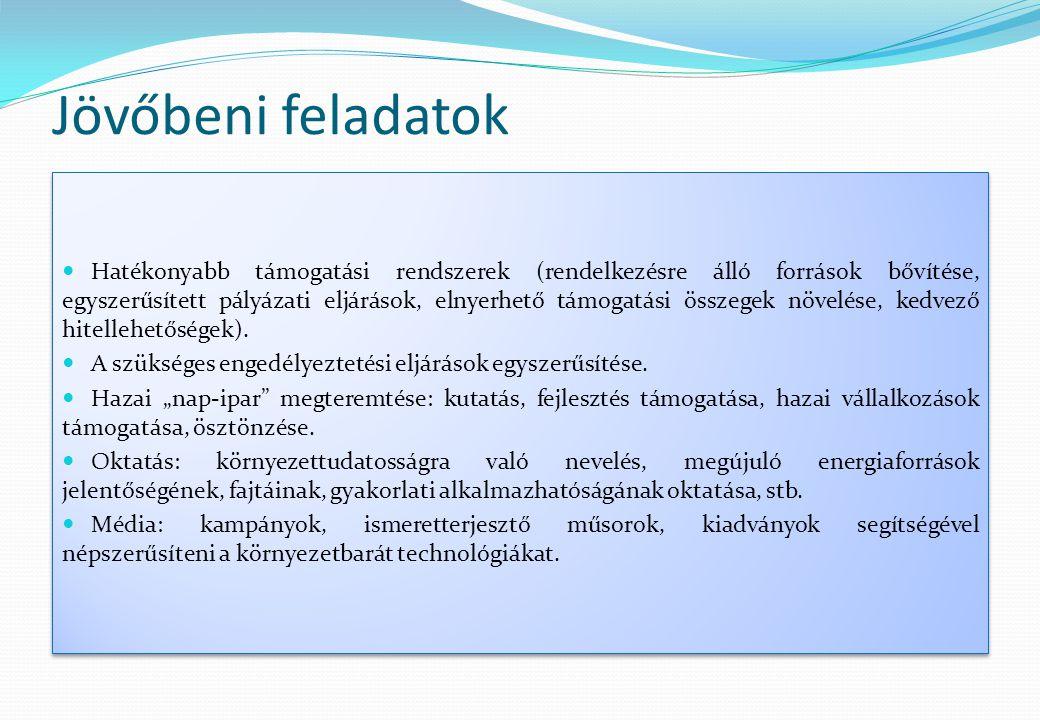 Jövőbeni feladatok  Hatékonyabb támogatási rendszerek (rendelkezésre álló források bővítése, egyszerűsített pályázati eljárások, elnyerhető támogatás