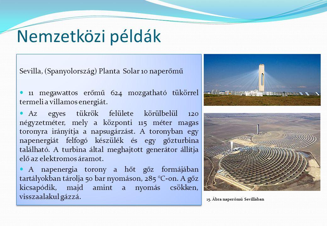 Nemzetközi példák Sevilla, (Spanyolország) Planta Solar 10 naperőmű  11 megawattos erőmű 624 mozgatható tükörrel termeli a villamos energiát.  Az eg