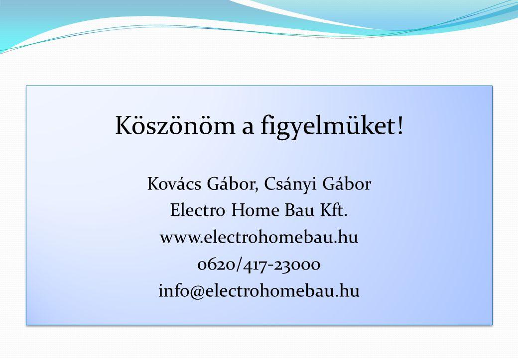 Köszönöm a figyelmüket! Kovács Gábor, Csányi Gábor Electro Home Bau Kft. www.electrohomebau.hu 0620/417-23000 info@electrohomebau.hu Köszönöm a figyel