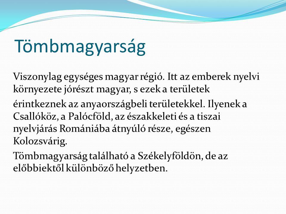 Tömbmagyarság Viszonylag egységes magyar régió. Itt az emberek nyelvi környezete jórészt magyar, s ezek a területek érintkeznek az anyaországbeli terü
