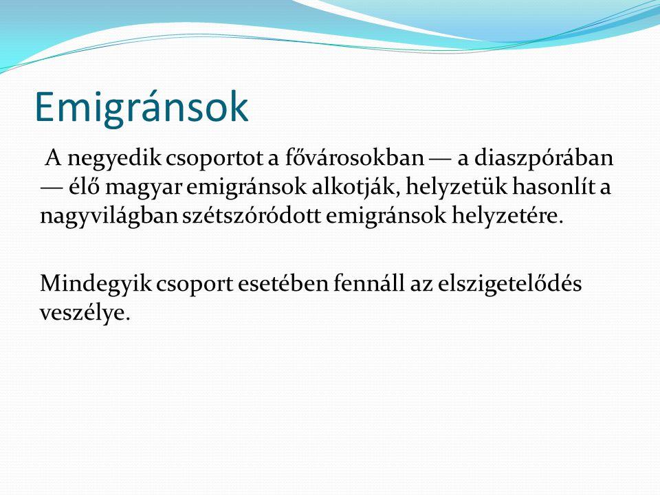 Emigránsok A negyedik csoportot a fővárosokban — a diaszpórában — élő magyar emigránsok alkotják, helyzetük hasonlít a nagyvilágban szétszóródott emig