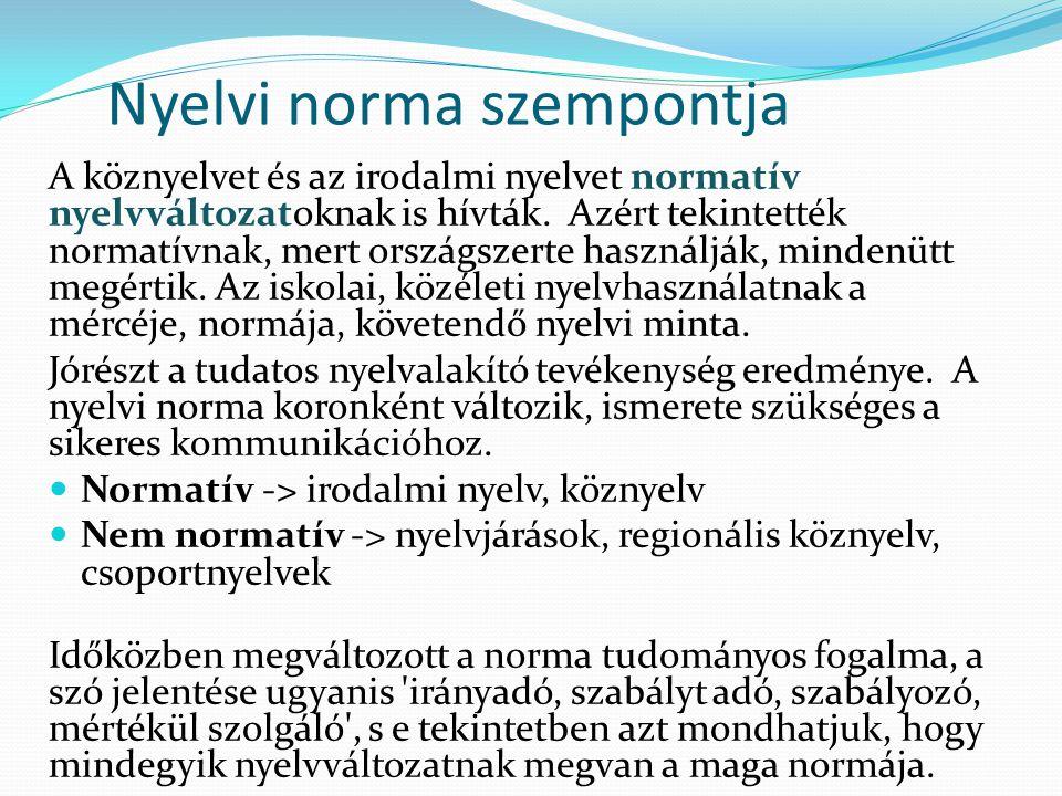 Nyelvi norma szempontja A köznyelvet és az irodalmi nyelvet normatív nyelvváltozatoknak is hívták. Azért tekintették normatívnak, mert országszerte ha