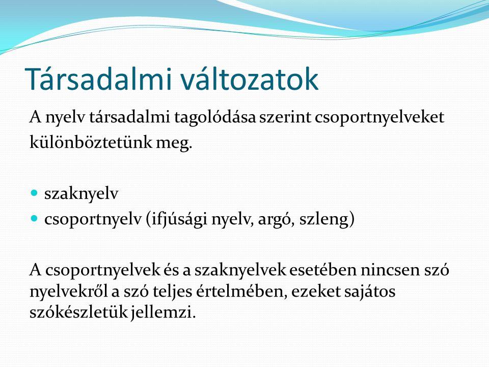 Társadalmi változatok A nyelv társadalmi tagolódása szerint csoportnyelveket különböztetünk meg.  szaknyelv  csoportnyelv (ifjúsági nyelv, argó, szl