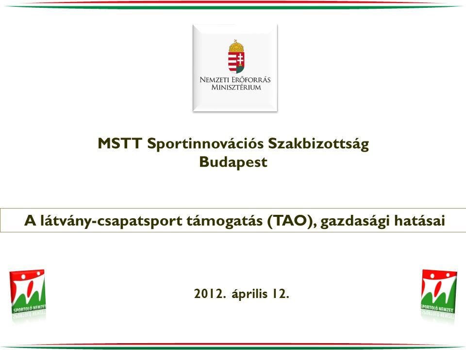 MSTT Sportinnovációs Szakbizottság Budapest 2012. április 12. A látvány-csapatsport támogatás (TAO), gazdasági hatásai
