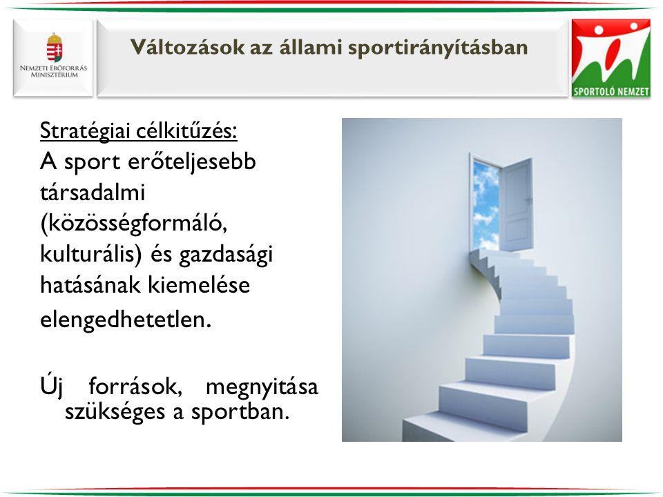 Változások az állami sportirányításban Stratégiai célkitűzés : A sport erőteljesebb társadalmi (közösségformáló, kulturális) és gazdasági hatásának ki