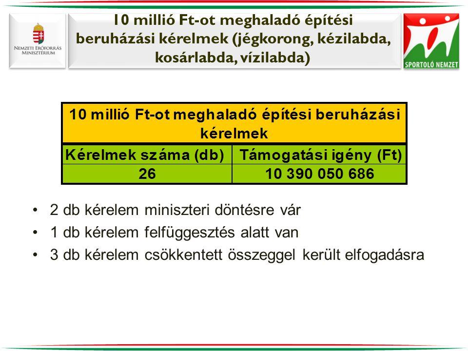 10 millió Ft-ot meghaladó építési beruházási kérelmek (jégkorong, kézilabda, kosárlabda, vízilabda) •2 db kérelem miniszteri döntésre vár •1 db kérele
