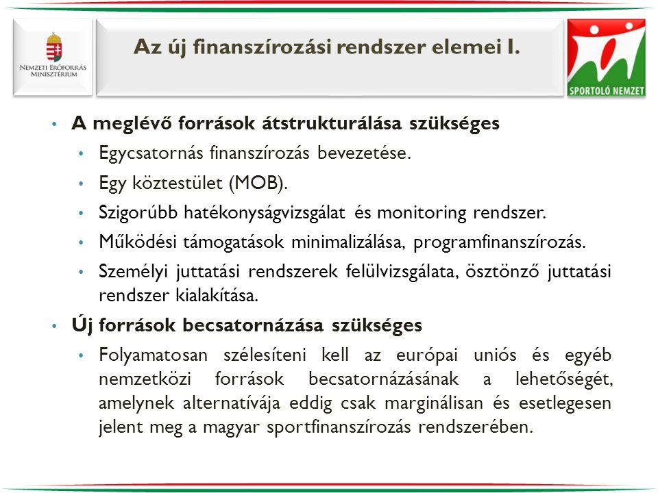Az új finanszírozási rendszer elemei I. • A meglévő források átstrukturálása szükséges • Egycsatornás finanszírozás bevezetése. • Egy köztestület (MOB