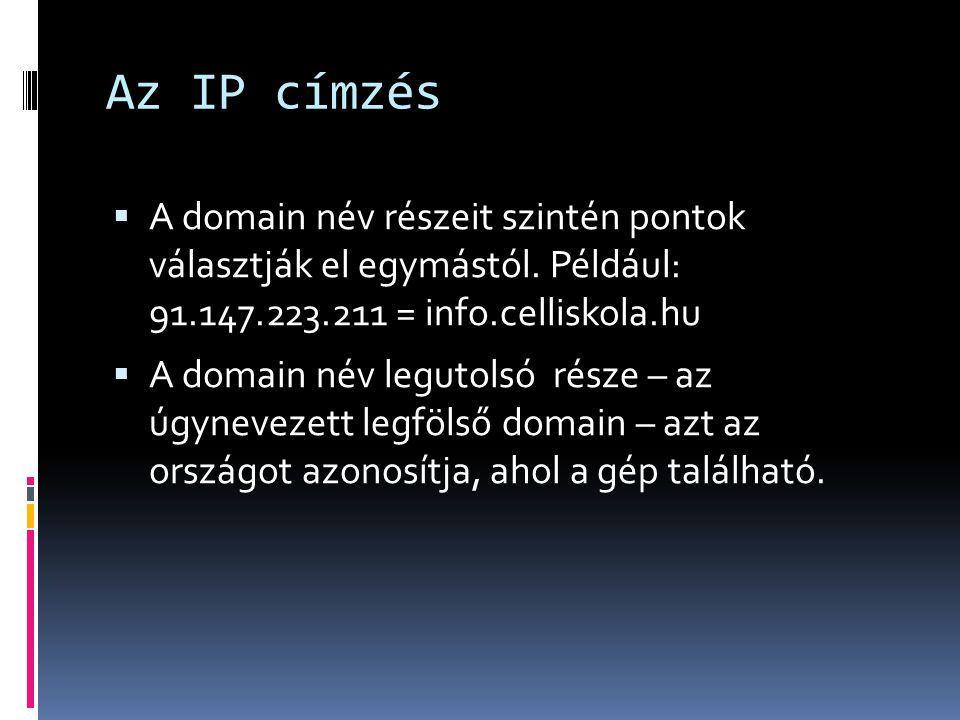 Az IP címzés  A domain név részeit szintén pontok választják el egymástól. Például: 91.147.223.211 = info.celliskola.hu  A domain név legutolsó  ré