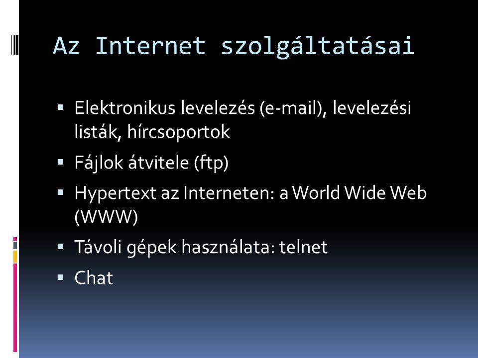 Az Internet szolgáltatásai  Elektronikus levelezés (e-mail), levelezési listák, hírcsoportok  Fájlok átvitele (ftp)  Hypertext az Interneten: a Wor