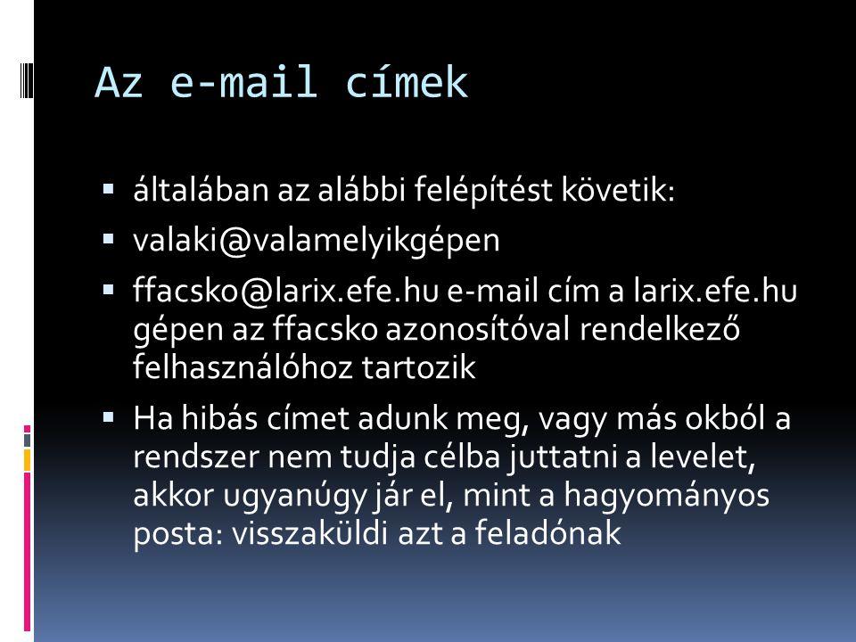 Az e-mail címek  általában az alábbi felépítést követik:  valaki@valamelyikgépen  ffacsko@larix.efe.hu e-mail cím a larix.efe.hu gépen az ffacsko a