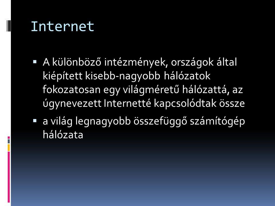 Internet  A különböző intézmények, országok által kiépített kisebb-nagyobb hálózatok fokozatosan egy világméretű hálózattá, az úgynevezett Internetté