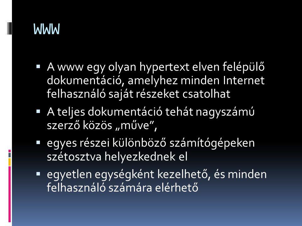 WWW  A www egy olyan hypertext elven felépülő dokumentáció, amelyhez minden Internet felhasználó saját részeket csatolhat  A teljes dokumentáció teh