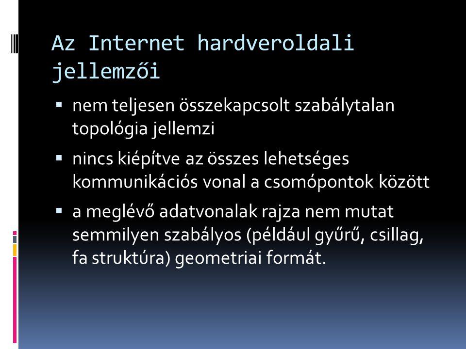 Az Internet hardveroldali jellemzői  nem teljesen összekapcsolt szabálytalan topológia jellemzi  nincs kiépítve az összes lehetséges kommunikációs v