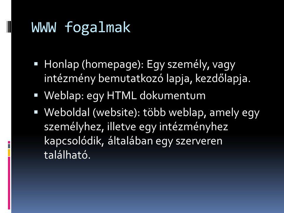 WWW fogalmak  Honlap (homepage): Egy személy, vagy intézmény bemutatkozó lapja, kezdőlapja.  Weblap: egy HTML dokumentum  Weboldal (website): több