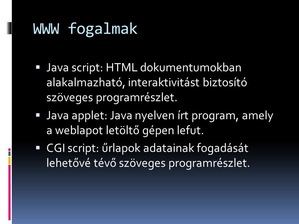 WWW fogalmak  Java script: HTML dokumentumokban alakalmazható, interaktivitást biztosító szöveges programrészlet.  Java applet: Java nyelven írt pro
