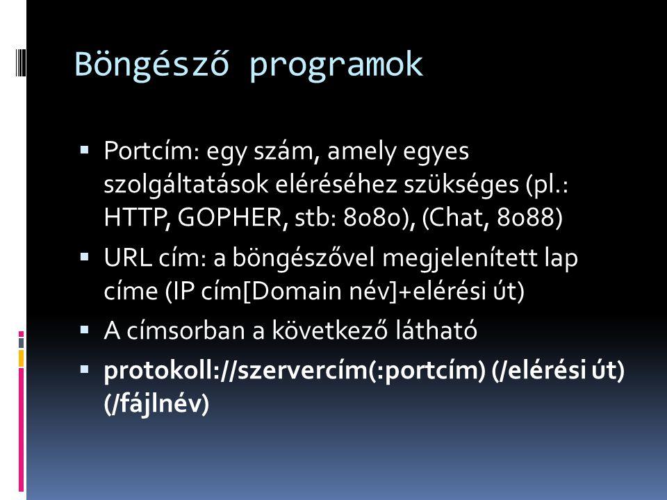 Böngésző programok  Portcím: egy szám, amely egyes szolgáltatások eléréséhez szükséges (pl.: HTTP, GOPHER, stb: 8080), (Chat, 8088)  URL cím: a böng