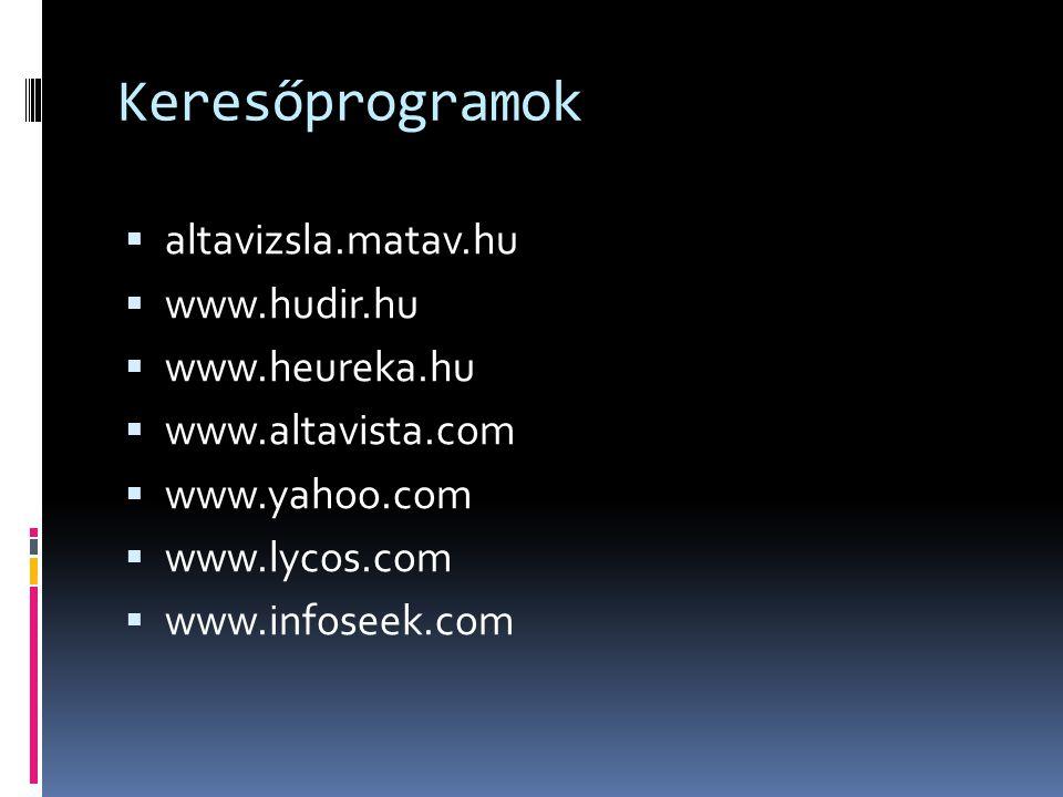 Keresőprogramok  altavizsla.matav.hu  www.hudir.hu  www.heureka.hu  www.altavista.com  www.yahoo.com  www.lycos.com  www.infoseek.com