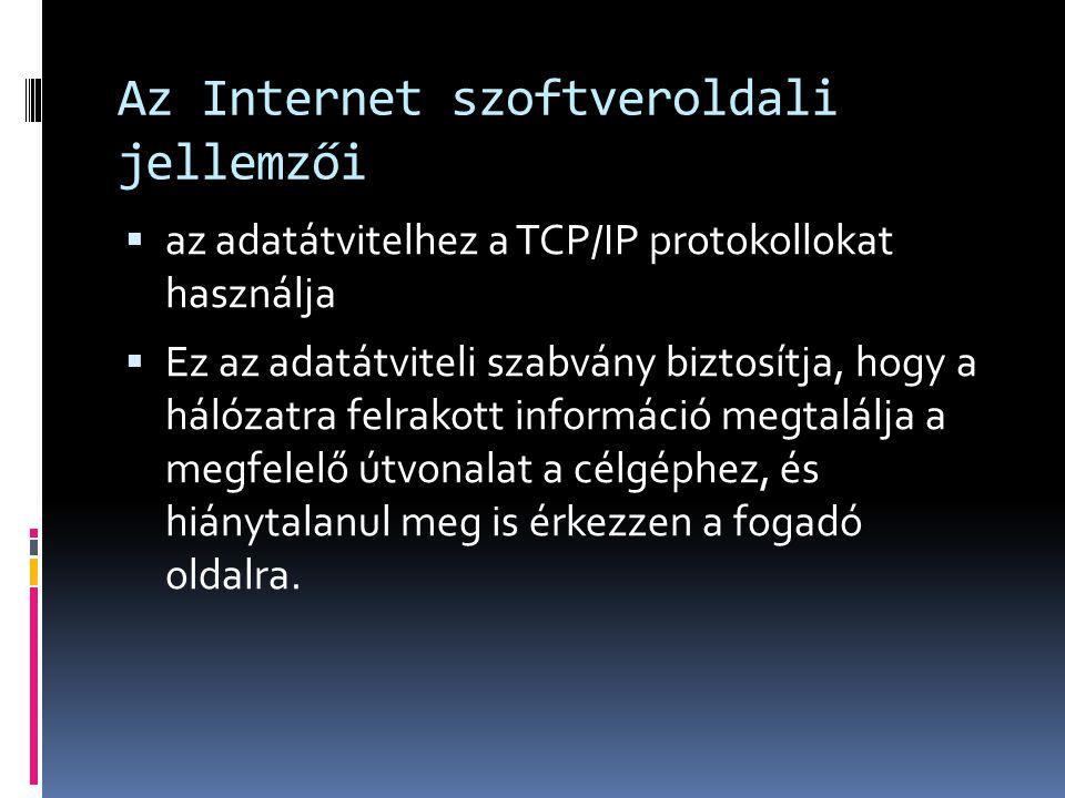 Az Internet szoftveroldali jellemzői  az adatátvitelhez a TCP/IP protokollokat használja  Ez az adatátviteli szabvány biztosítja, hogy a hálózatra f