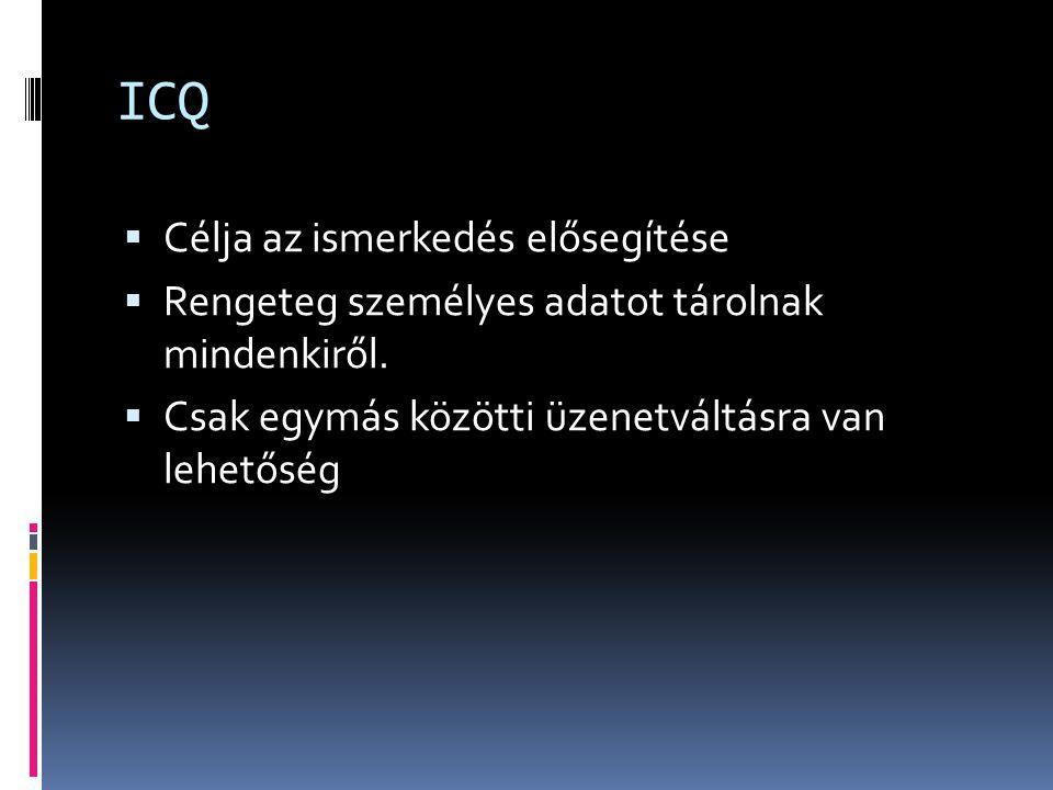 ICQ  Célja az ismerkedés elősegítése  Rengeteg személyes adatot tárolnak mindenkiről.  Csak egymás közötti üzenetváltásra van lehetőség
