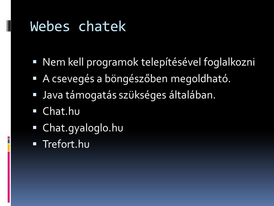 Webes chatek  Nem kell programok telepítésével foglalkozni  A csevegés a böngészőben megoldható.  Java támogatás szükséges általában.  Chat.hu  C
