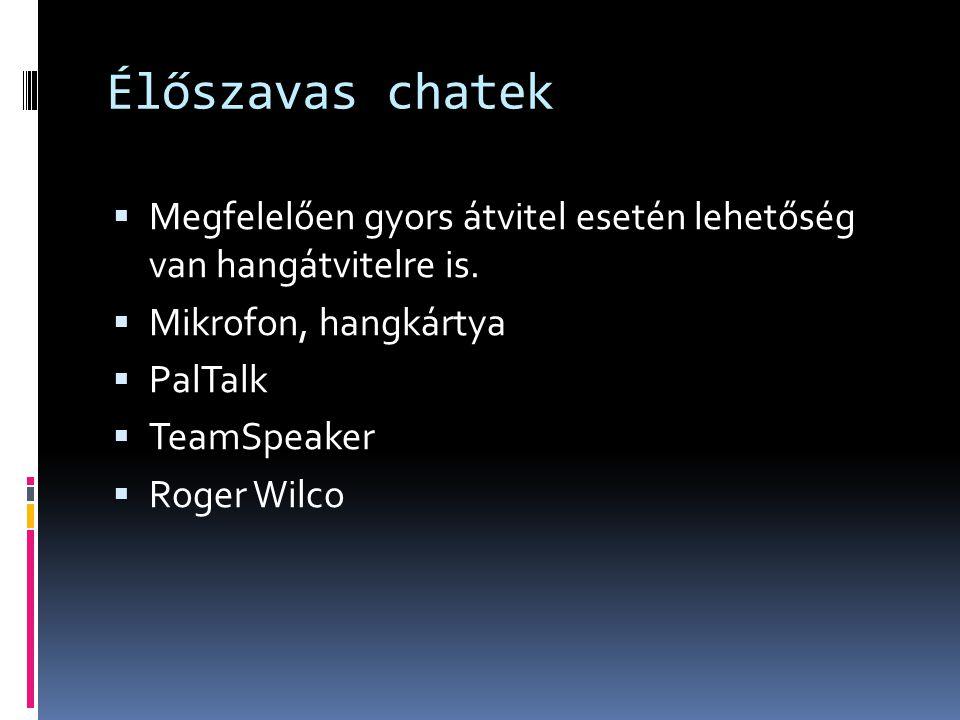 Élőszavas chatek  Megfelelően gyors átvitel esetén lehetőség van hangátvitelre is.  Mikrofon, hangkártya  PalTalk  TeamSpeaker  Roger Wilco
