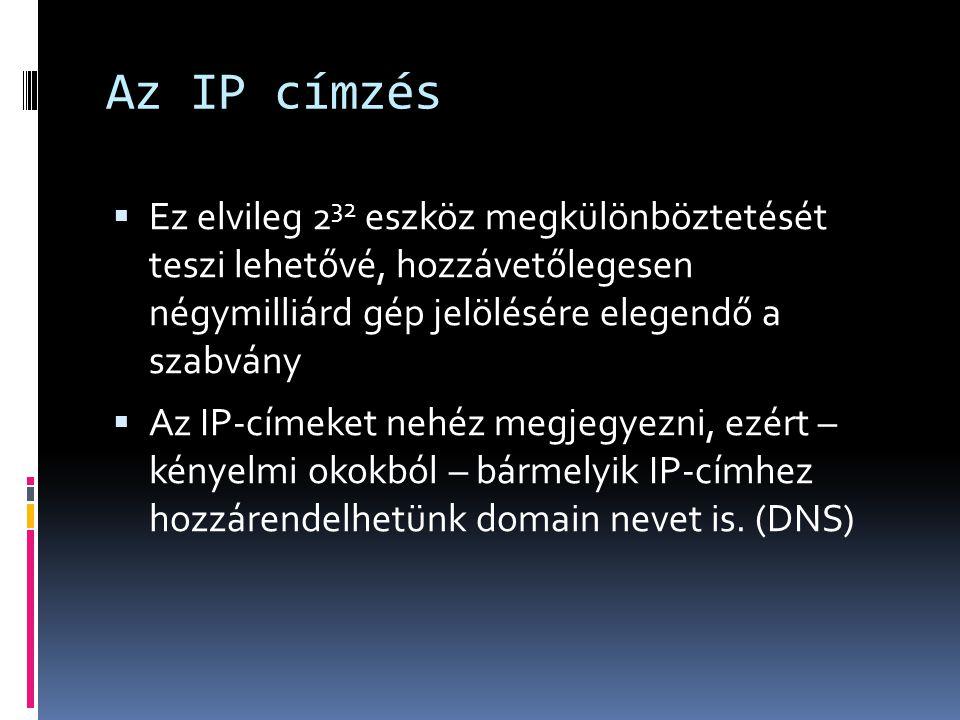 Az IP címzés  Ez elvileg 2 32 eszköz megkülönböztetését teszi lehetővé, hozzávetőlegesen négymilliárd gép jelölésére elegendő a szabvány  Az IP-címe