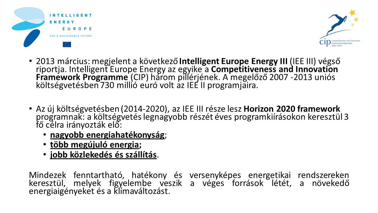 • 2013 március: megjelent a következő Intelligent Europe Energy III (IEE III) végső riportja. Intelligent Europe Energy az egyike a Competitiveness an