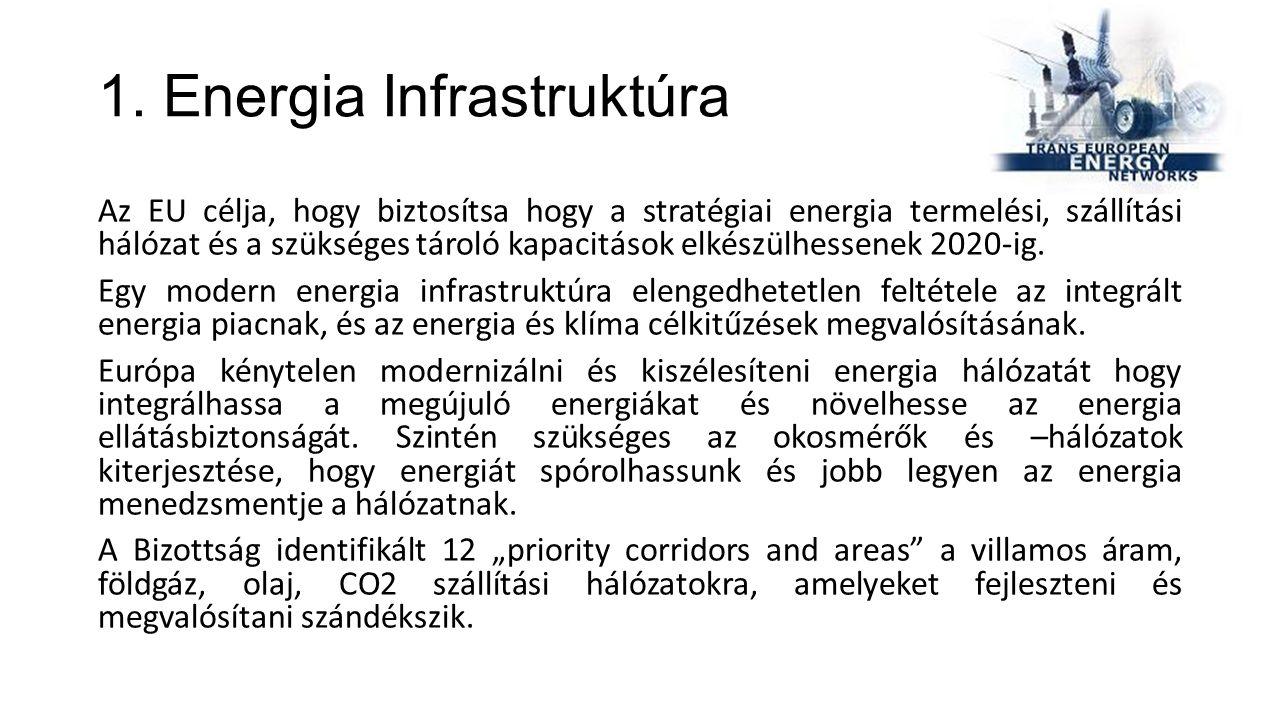 1. Energia Infrastruktúra Az EU célja, hogy biztosítsa hogy a stratégiai energia termelési, szállítási hálózat és a szükséges tároló kapacitások elkés