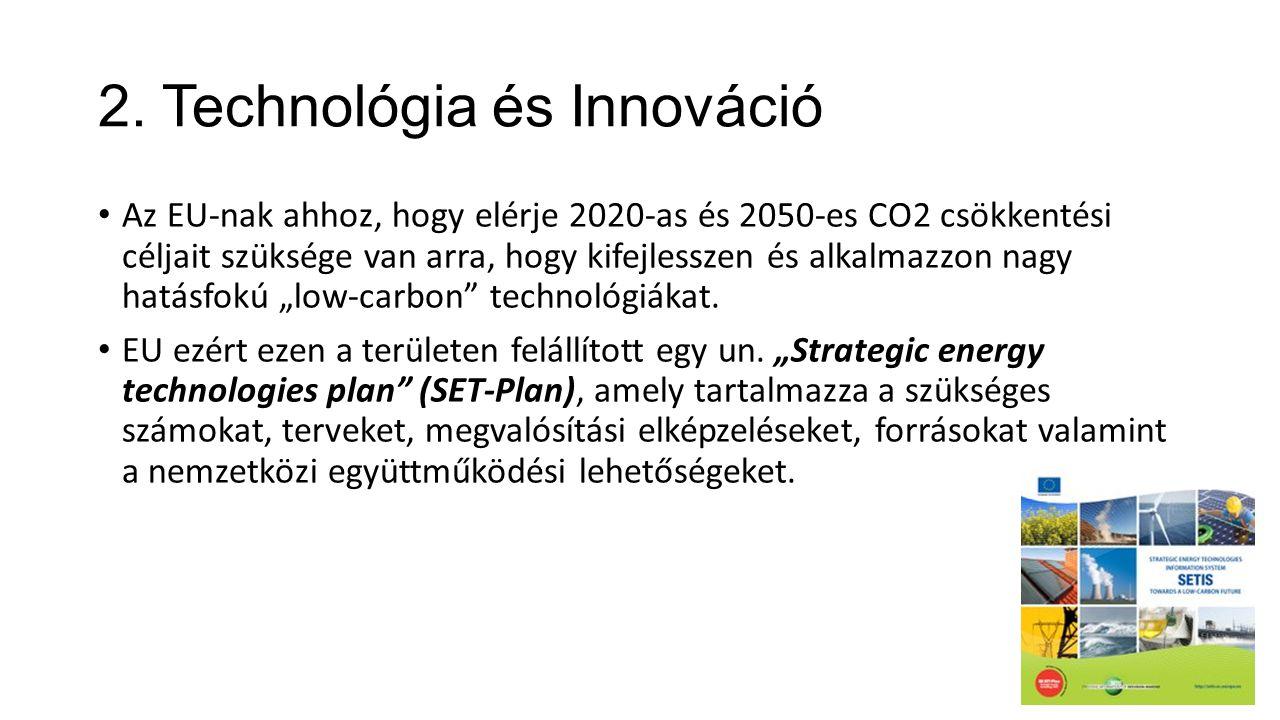 2. Technológia és Innováció • Az EU-nak ahhoz, hogy elérje 2020-as és 2050-es CO2 csökkentési céljait szüksége van arra, hogy kifejlesszen és alkalmaz