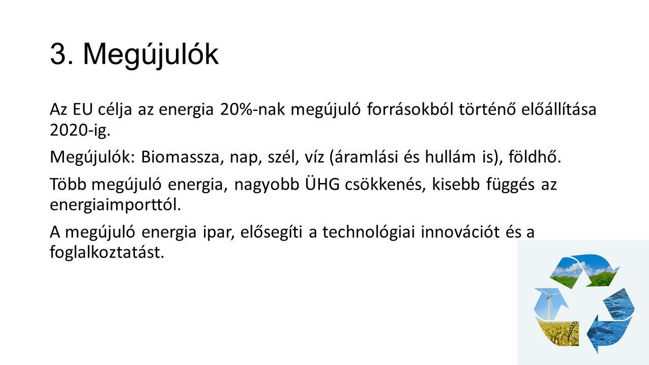 3. Megújulók Az EU célja az energia 20%-nak megújuló forrásokból történő előállítása 2020-ig. Megújulók: Biomassza, nap, szél, víz (áramlási és hullám