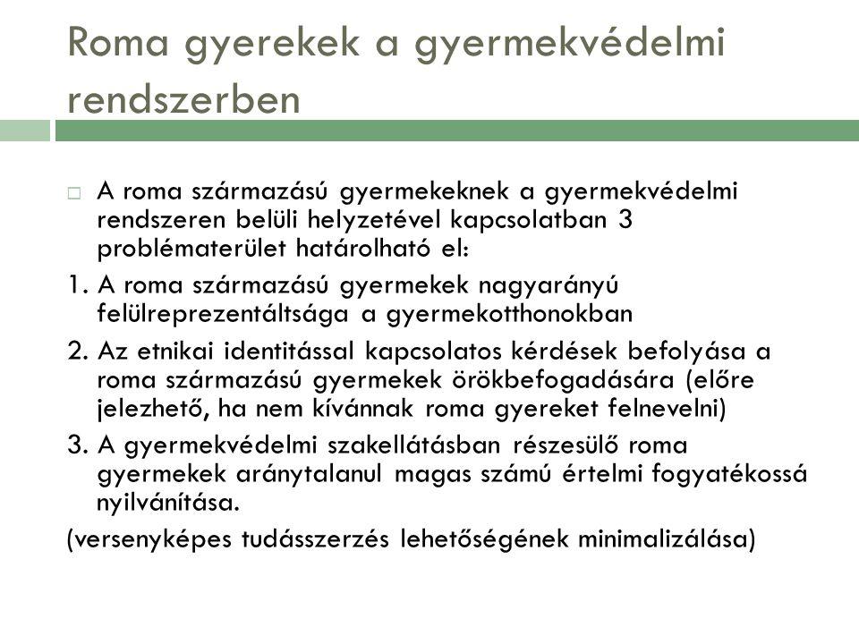  A roma származású gyermekeknek a gyermekvédelmi rendszeren belüli helyzetével kapcsolatban 3 problématerület határolható el: 1. A roma származású gy