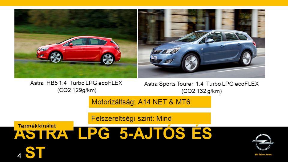 4 Termékkínálat ASTRA LPG 5-AJTÓS ÉS ST Astra HB5 1.4 Turbo LPG ecoFLEX (CO2 129g/km) Astra Sports Tourer 1.4 Turbo LPG ecoFLEX (CO2 132 g/km) Felszereltségi szint: Mind Motorizáltság: A14 NET & MT6