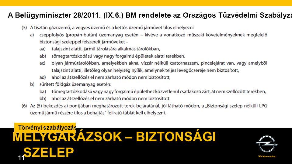AGENDA. 11 Törvényi szabályozás MÉLYGARÁZSOK – BIZTONSÁGI SZELEP A Belügyminiszter 28/2011.