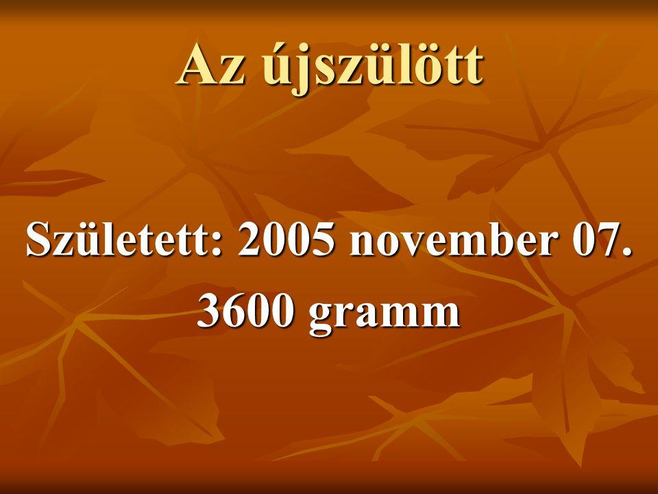 Az újszülött Született: 2005 november 07. 3600 gramm