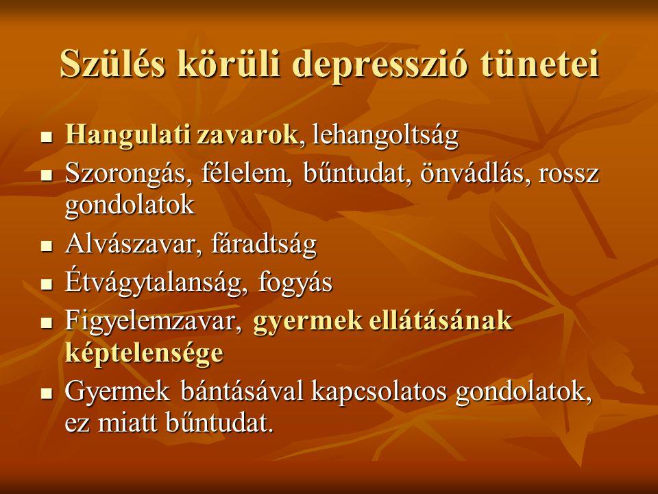 Szülés körüli depresszió tünetei  Hangulati zavarok, lehangoltság  Szorongás, félelem, bűntudat, önvádlás, rossz gondolatok  Alvászavar, fáradtság