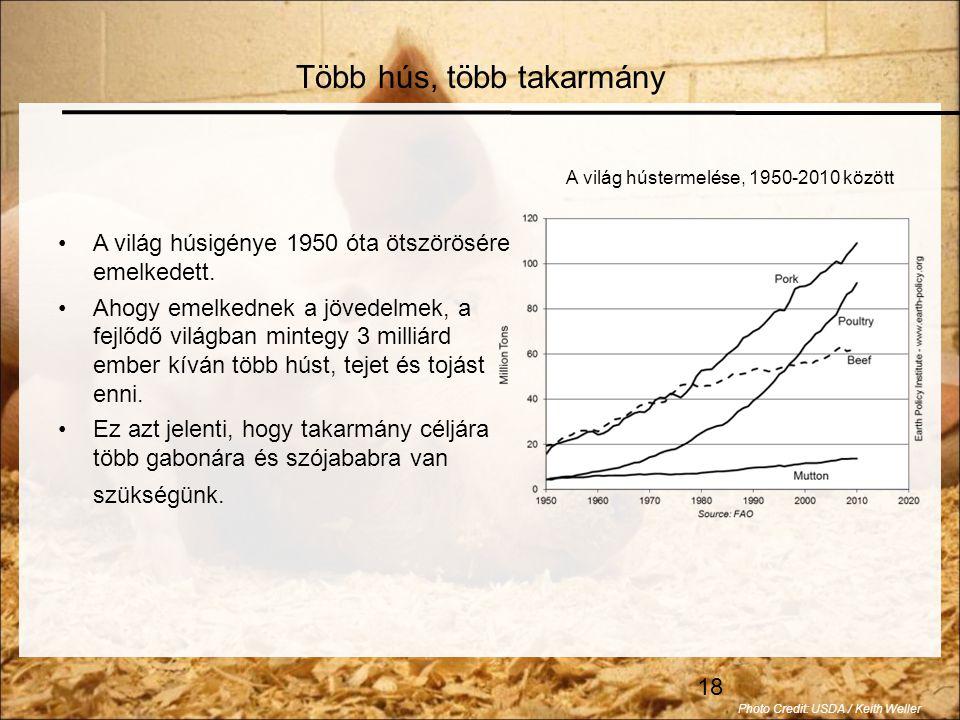 18 •A világ húsigénye 1950 óta ötszörösére emelkedett.