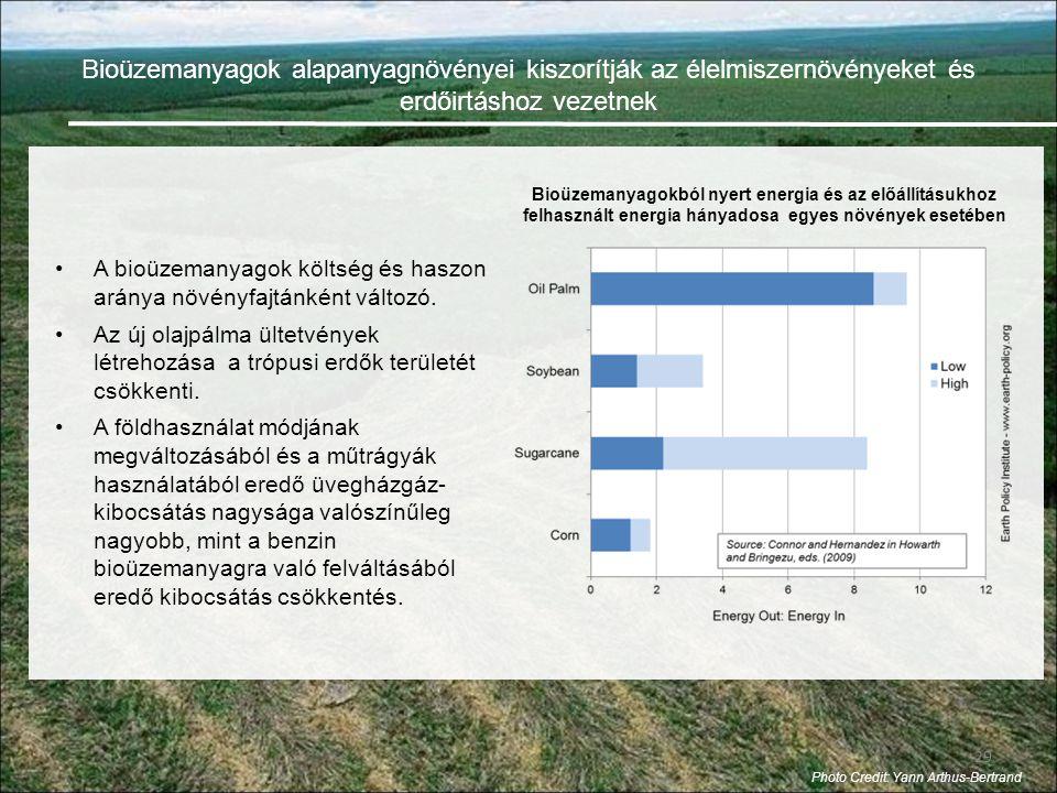 29 •A bioüzemanyagok költség és haszon aránya növényfajtánként változó.