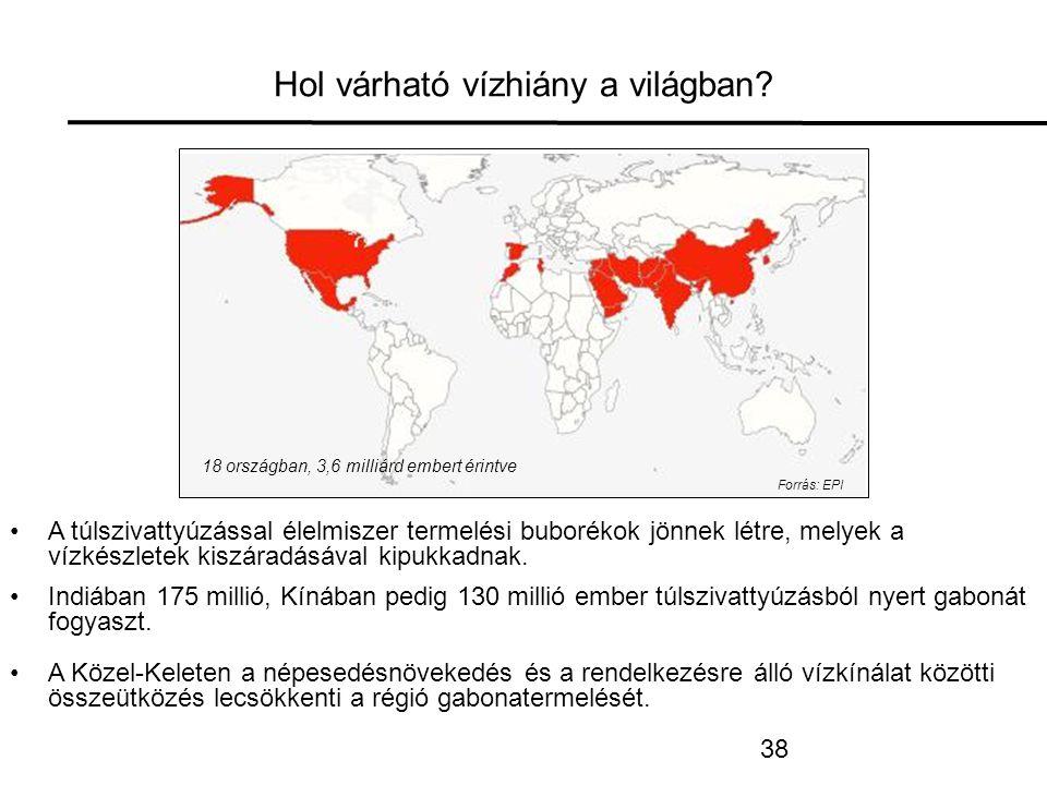 38 Hol várható vízhiány a világban.