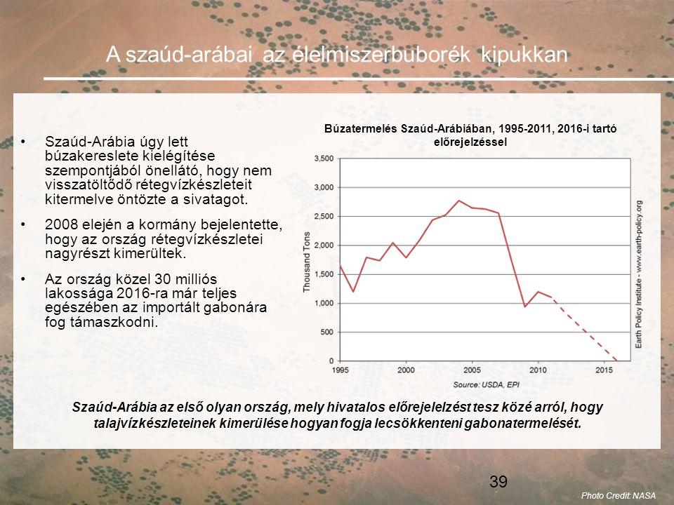 39 A szaúd-arábai az élelmiszerbuborék kipukkan •Szaúd-Arábia úgy lett búzakereslete kielégítése szempontjából önellátó, hogy nem visszatöltődő rétegvízkészleteit kitermelve öntözte a sivatagot.