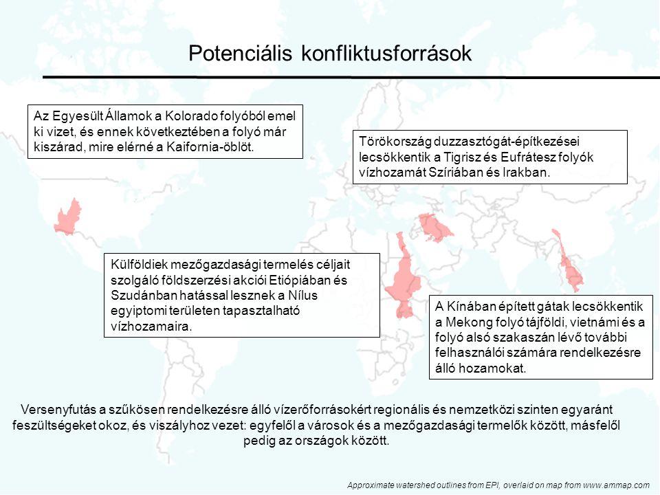 40 Potenciális konfliktusforrások Approximate watershed outlines from EPI, overlaid on map from www.ammap.com Törökország duzzasztógát-építkezései lecsökkentik a Tigrisz és Eufrátesz folyók vízhozamát Szíriában és Irakban.