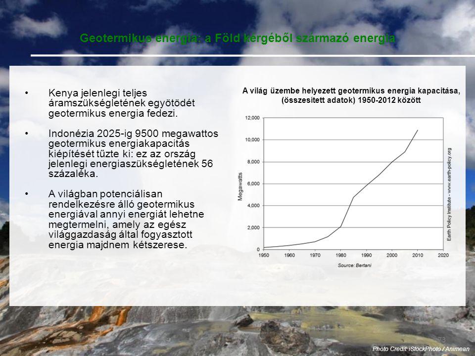 73 Photo Credit: iStockPhoto / Animean Geotermikus energia: a Föld kérgéből származó energia •Kenya jelenlegi teljes áramszükségletének egyötödét geotermikus energia fedezi.