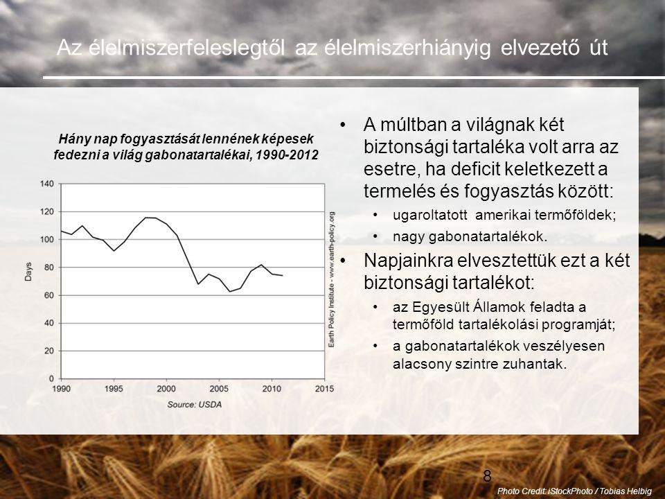 8 Az élelmiszerfeleslegtől az élelmiszerhiányig elvezető út •A múltban a világnak két biztonsági tartaléka volt arra az esetre, ha deficit keletkezett a termelés és fogyasztás között: •ugaroltatott amerikai termőföldek; •nagy gabonatartalékok.