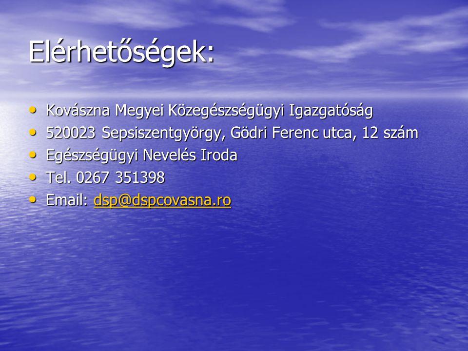 Elérhetőségek: • Kovászna Megyei Közegészségügyi Igazgatóság • 520023 Sepsiszentgyörgy, Gödri Ferenc utca, 12 szám • Egészségügyi Nevelés Iroda • Tel.